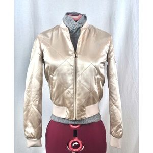 Rose gold metallic bomber jacket